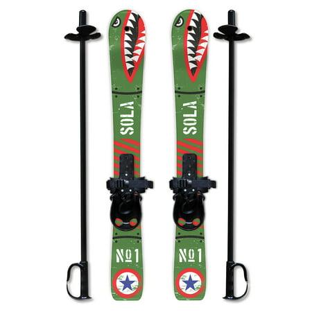 SOLA Kid's Snow Skis & Poles Winter Sports Beginner W/ Bindings Age 2 - 4 (Bomber)