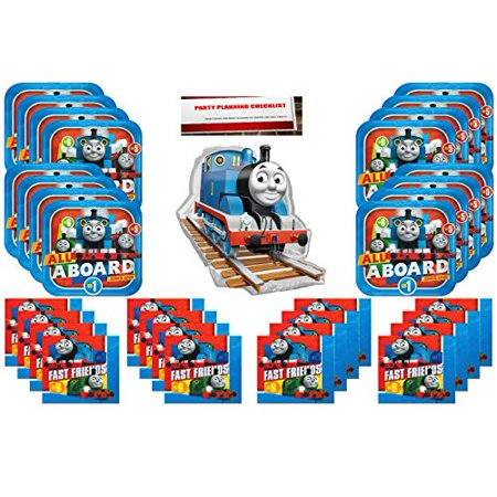 Thomas The Train Party Supplies Bundle Pack for 16 (16 Inch Balloon Plus Party Planning Checklist by Mikes Super Store) - Cheap Party Supply Stores