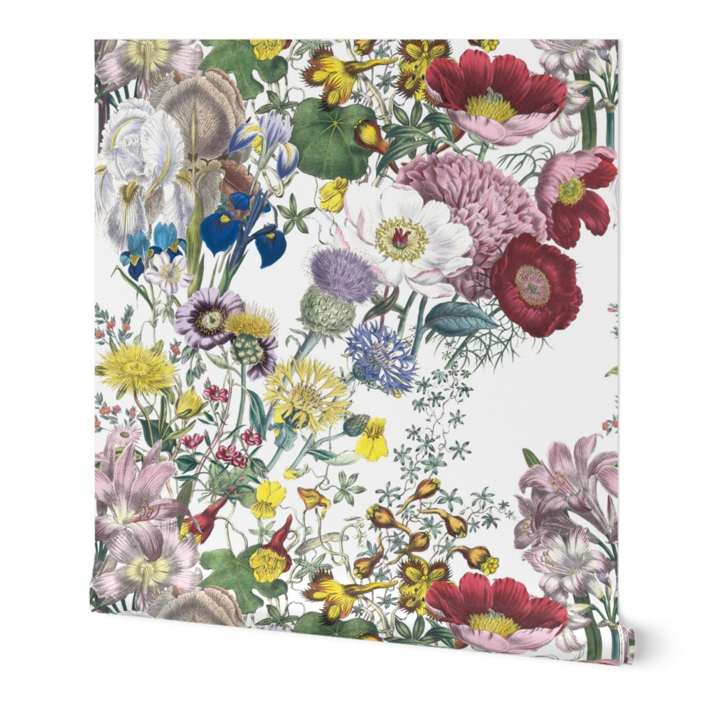 Wallpaper Roll Colorful Wildflower Rainbow Floral Victorian