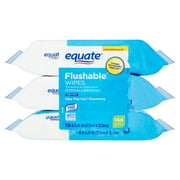 Equate Flushable Wipes, Fresh Scent, 3 Packs of 48 Wipes, 144 Wipes Total