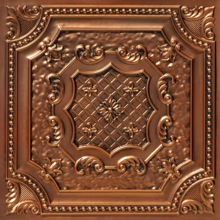 Antique Bronze Shield - Elizabethan Shield 2 ft. x 2 ft. PVC Glue-up or Lay-in Ceiling Tile in Aged Copper