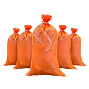 "Sandbags For Flooding - Size: 14"" x 26"" - Orange - Sandbags Empty - Sandbags Wholesale Bulk - Sand Bag - Flood Water Barrier - Water Curb - Tent & Store Bags (10 Bags)"