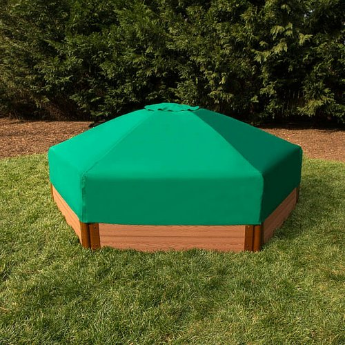 Frame It All Composite 84ft Hexagon Sandbox Kit with Collapsible Cover by