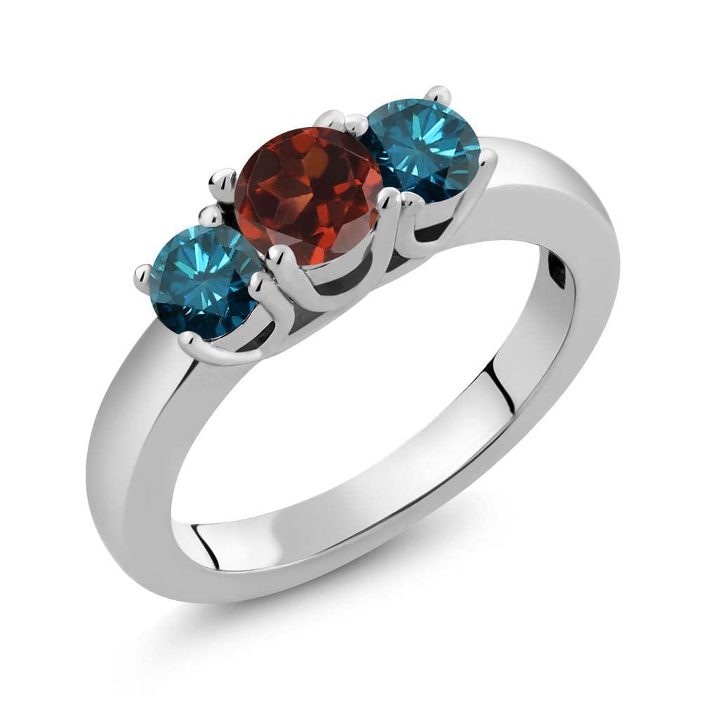 1.09 Ct Round Red Garnet Blue Diamond 925 Sterling Silver...