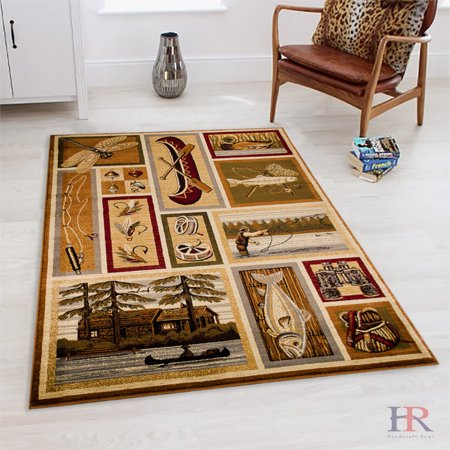 Handcraft Rugs Fishing Accent And Hunting Equipment Cabin