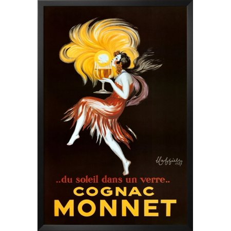 Professionally Framed Leonetto Cappiello Cognac Monnet Vintage Ad Art Print Poster - 24x36 with RichAndFramous Black Wood Frame, From US,Brand Poster Revolution