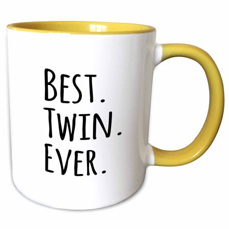 3dRose Best Twin Ever - gifts for twin brothers or sisters - siblings - family and relative specific gifts - Two Tone Yellow Mug, (Best Products For Twins)