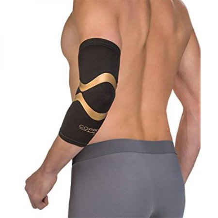 copper fit pro series performance compression elbow sleeve, black with copper trim, x-large