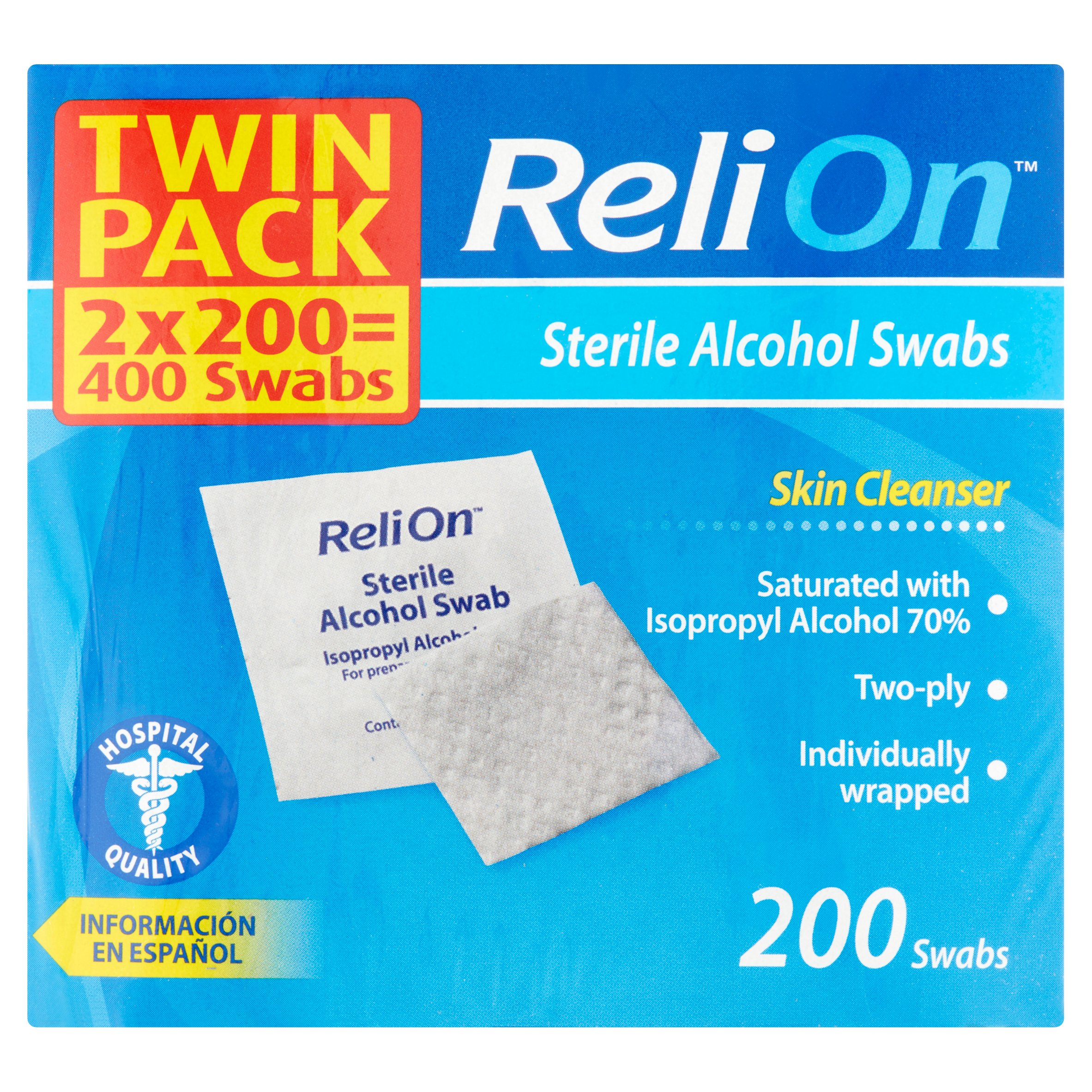 Reli On Twin Pack 400 Sterile Alcohol Swabs