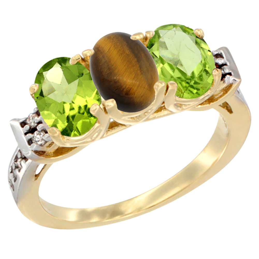 10K Yellow Gold Natural Tiger Eye & Peridot Sides Ring 3-Stone Oval 7x5 mm Diamond Accent, sizes 5 10 by WorldJewels