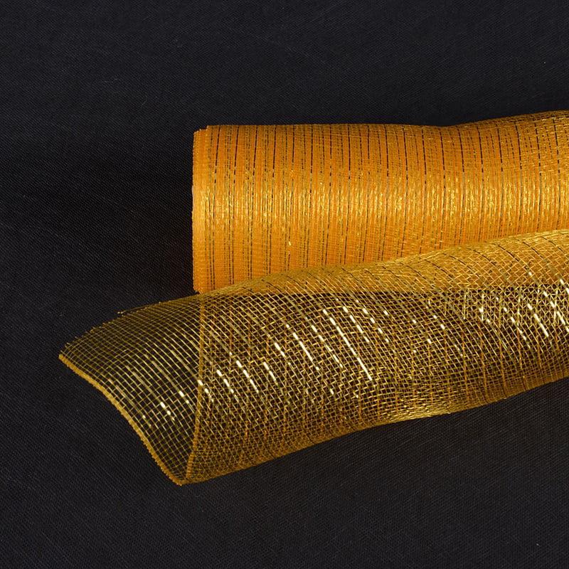 Light Gold  - Deco Mesh Wrap Metallic Stripes -  ( 21 Inch x 10 Yards )