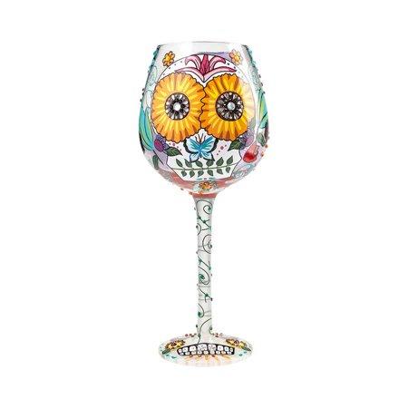 Lolita Glassware Bling Sugar Skulls Wine Glass #6000215 - Sugar Skull Wine Glass