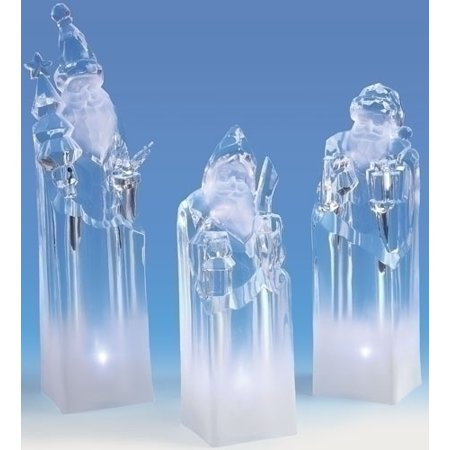 Pack of 3 Icy Crystal LED Lighted Santa Claus Block Figures 8.5