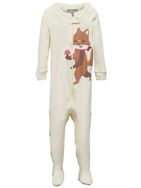 Elowel Little Girls Brown Fox Printed Zipper Footed Pajama Sleeper 2