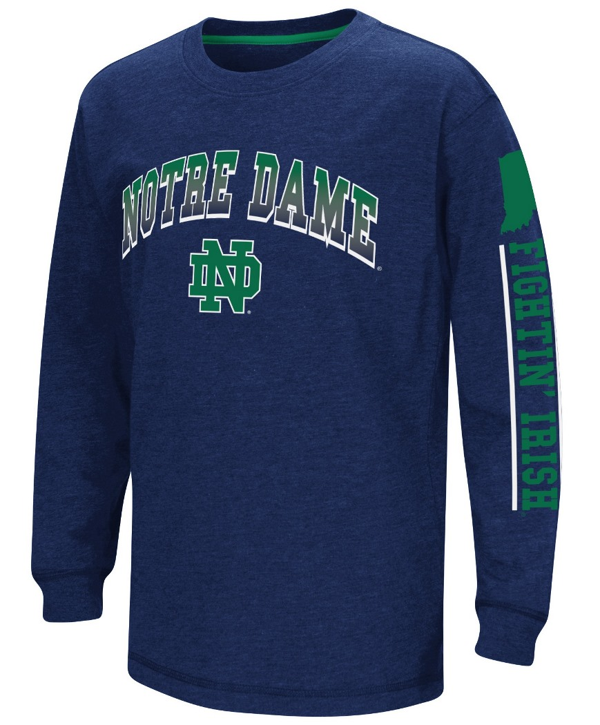 Notre Dame Fighting Irish NCAA Grandstand Long Sleeve Dual Blend Youth T-Shirt by Colosseum