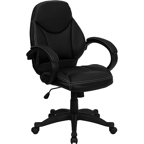 Contemporary Leather Mid-Back Office Chair, Black