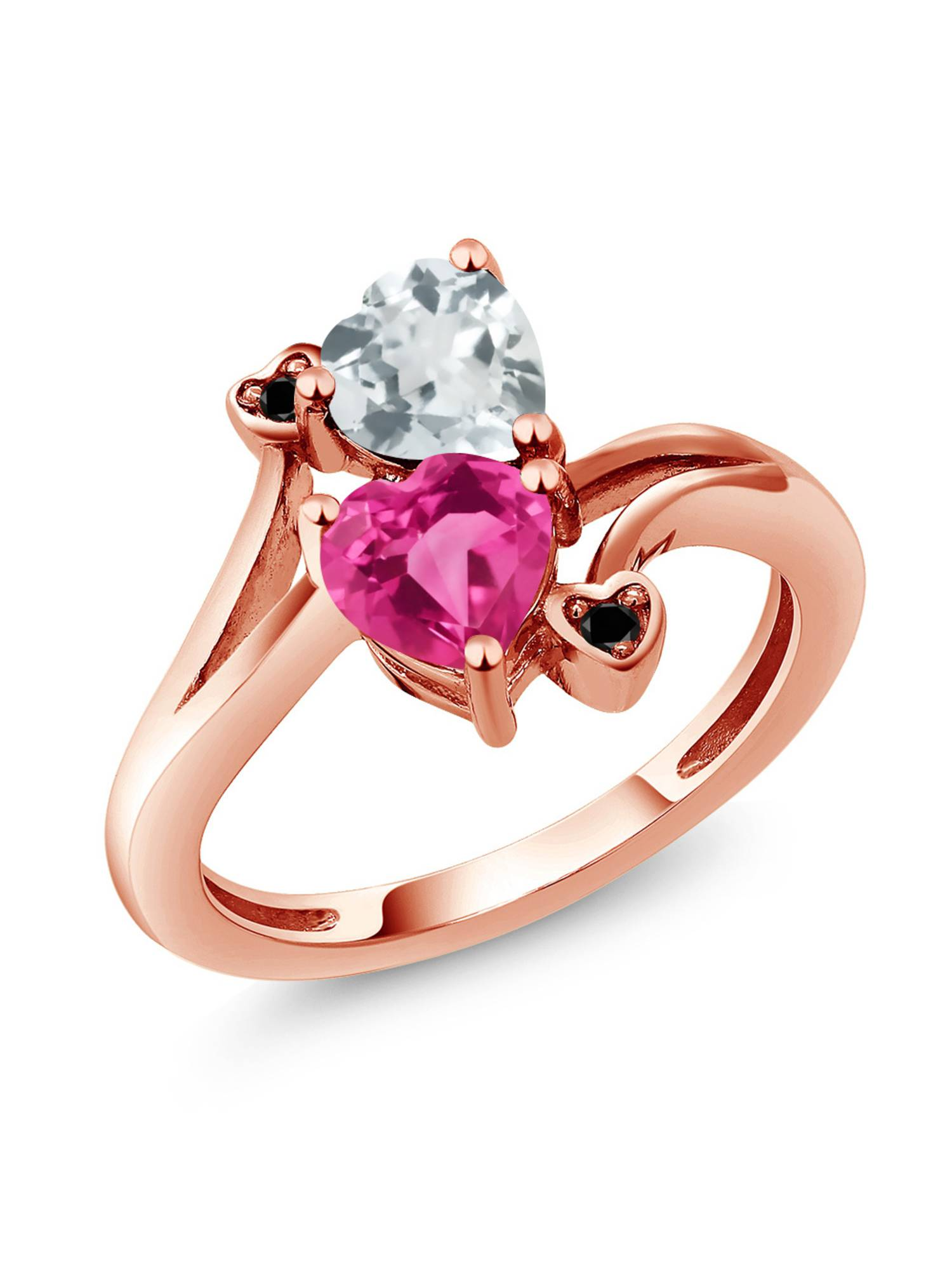 1.50 Ct Pink Created Sapphire Sky Blue Aquamarine 18K Rose Gold Plated Silver Ring by