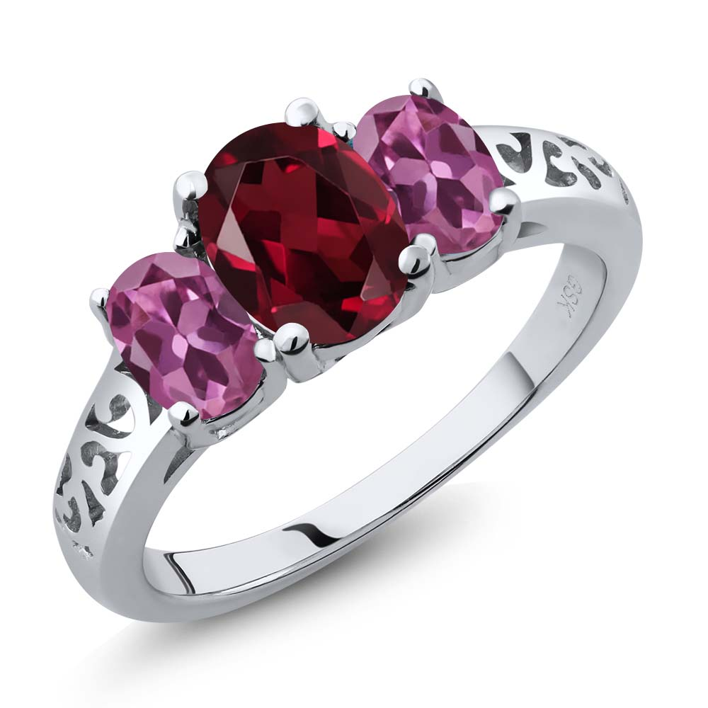 2.35 Ct Oval Red Rhodolite Garnet Pink Tourmaline 18K White Gold 3-Stone Ring by