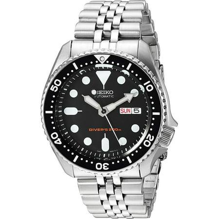 SEIKO SKX007K2,Men's Automatic Diver,Self Winding,Stainless Steel Case and bracelet,Screw Crown,200m WR,SKX007 (Seiko Crown)