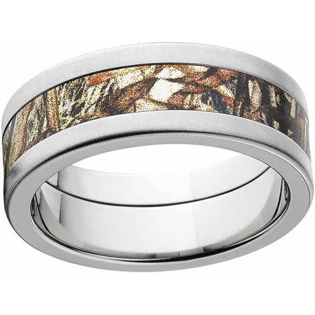 Duckblind Men's Camo 8mm Stainless Steel Wedding Band with Cross Brushed Edges and Deluxe Comfort Fit