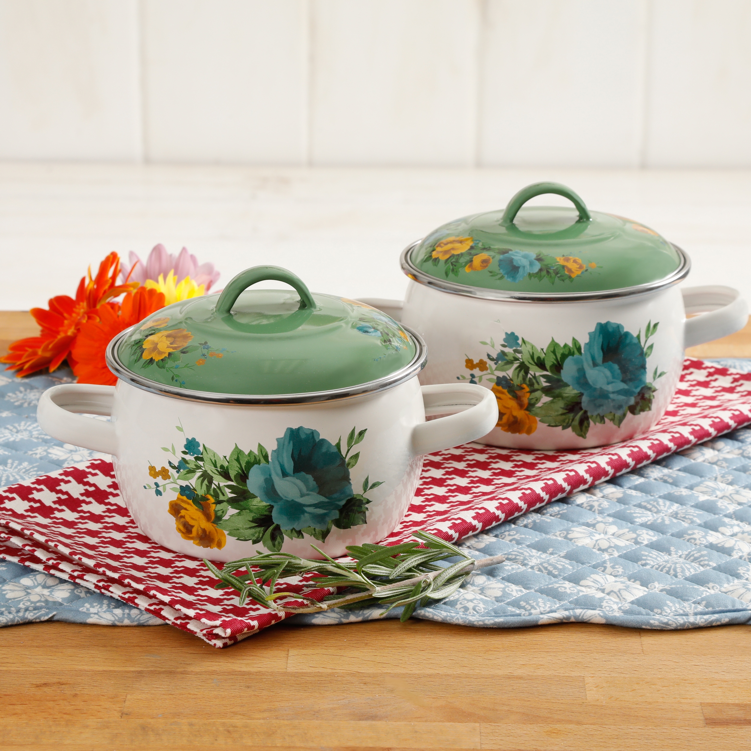 THE PIONEER WOMAN ROSE SHADOW 2-PACK MINI DUTCH OVEN WITH LIDS