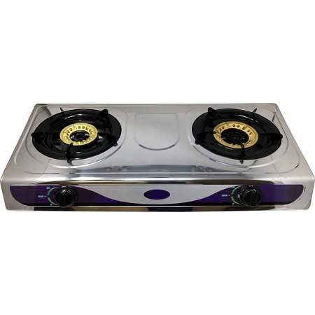 1 Heavy Duty Double Burner Propane Gas Stove Outdoor Cooking Butane Gas Stove Full Stainless Steel Body Electronic Ignition Available without or with Black Metal Stand (TWO STOVE BURNER) (Electronic Ignition 2 Burner)