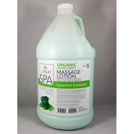 La Palm Spa Organic Healing Therapy Massage Lotion Spearmint Eucalyptus Moisture Restoring Treatment 1 Gallon