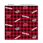Wisconsin Badgers Flannel Fabric with Check Pattern-Sold by the Yard