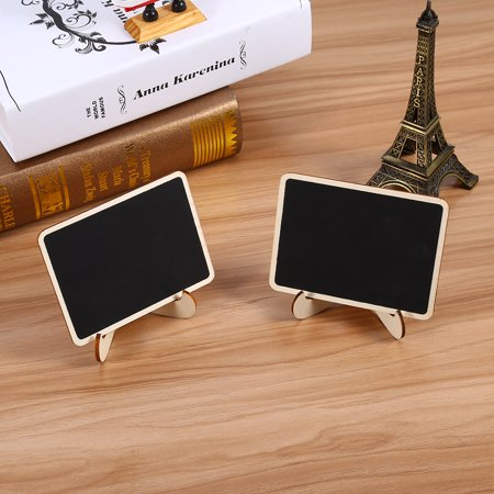 HURRISE 10PCS Wooden Mini Blackboard Chalkboard Message Note Board With Stand Holder Clip - Chalk Holders
