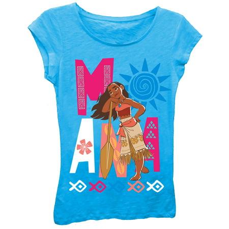 Moana Daydreaming Girls Short Puff Sleeve Crystalline Graphic Tee T Shirt