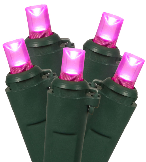Set of 100 Pink LED Wide Angle Christmas Lights - Green Wire