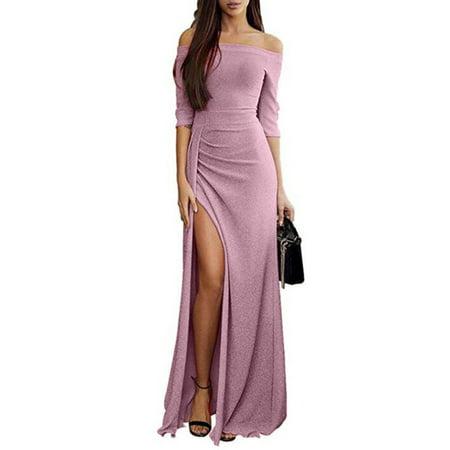 Women's Slits Off Shoulder Long Sleeve Full Dress Long Dress (Silver Fringe Flapper Dress)