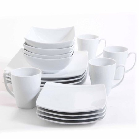 Gibson Studio Bistro Dining 16-Piece Square Dinnerware Set, White