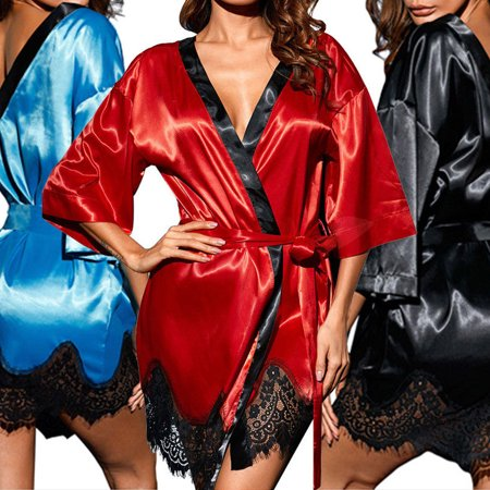 The Noble Collection Women Satin Lace Silk Underwear Lingerie Nightdress Sleepwear Robe Plus Size (Lingerie Collection)