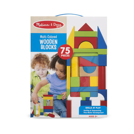 Melissa & Doug 75 Multi-Colored Wooden Blocks