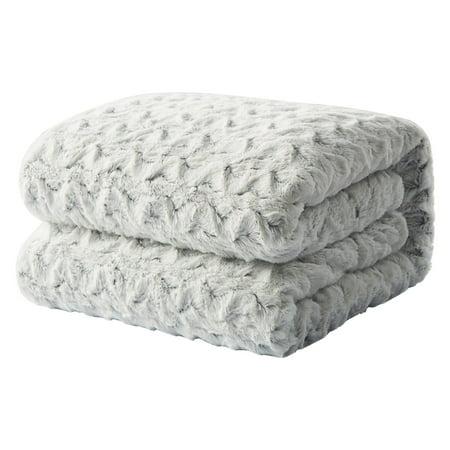 Tache Home Fashion Faux Fur Snowy Owl White Soft Throw Blanket Fur Fashion Photo