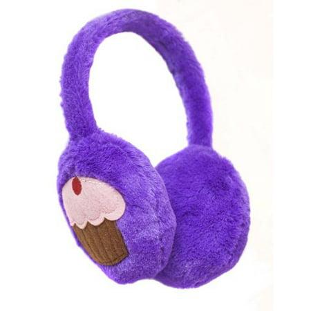 Beverly Hills Teddy Bear Co. Purple Plush Cupcake Ear Muffs - Purple Bear