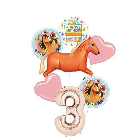 Mayflower Products Spirit Riding Free Party Supplies 3rd Birthday Tan Horse Balloon Bouquet Decorations (Horse Halloween Party Ideas)