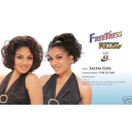 Shake N Go Freetress Drawstring Fullcap Half Wig - Salem Girl #1 Freetress Half Wigs