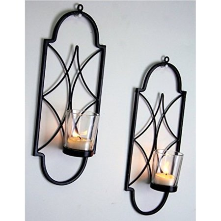12 Light Wall Sconce (Hosley Set of Two, 12' High Iron Tea Light Candle Wall Sconces. Ideal Gift for Spa, Aromatherapy, wedding. Hand made by Artisans)