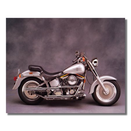Silver Harley Davidson Fatboy Motorcycle Photo Wall Picture 8x10 Art