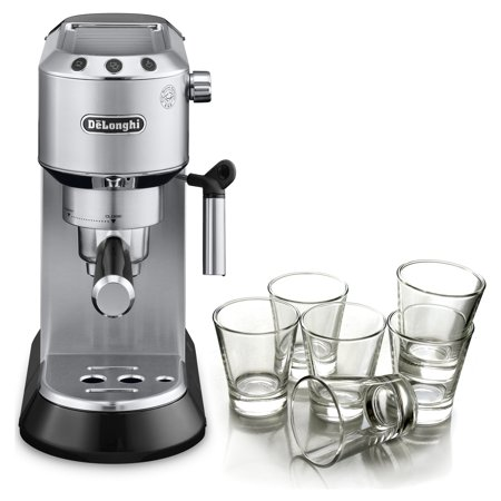 DeLonghi Dedica Stainless Steel Pump Espresso and Cappucino Machine with Free Set of 6 Italian Espresso
