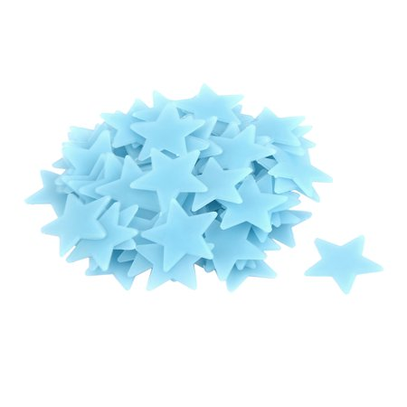Room PVC Star Shaped Decoration Glow in the Dark Wall Sticker Decal Blue 80 - Glow In The Dark Decorations