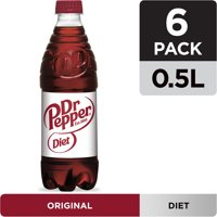 Diet Dr Pepper Soda, .5 L bottles, 6 pack