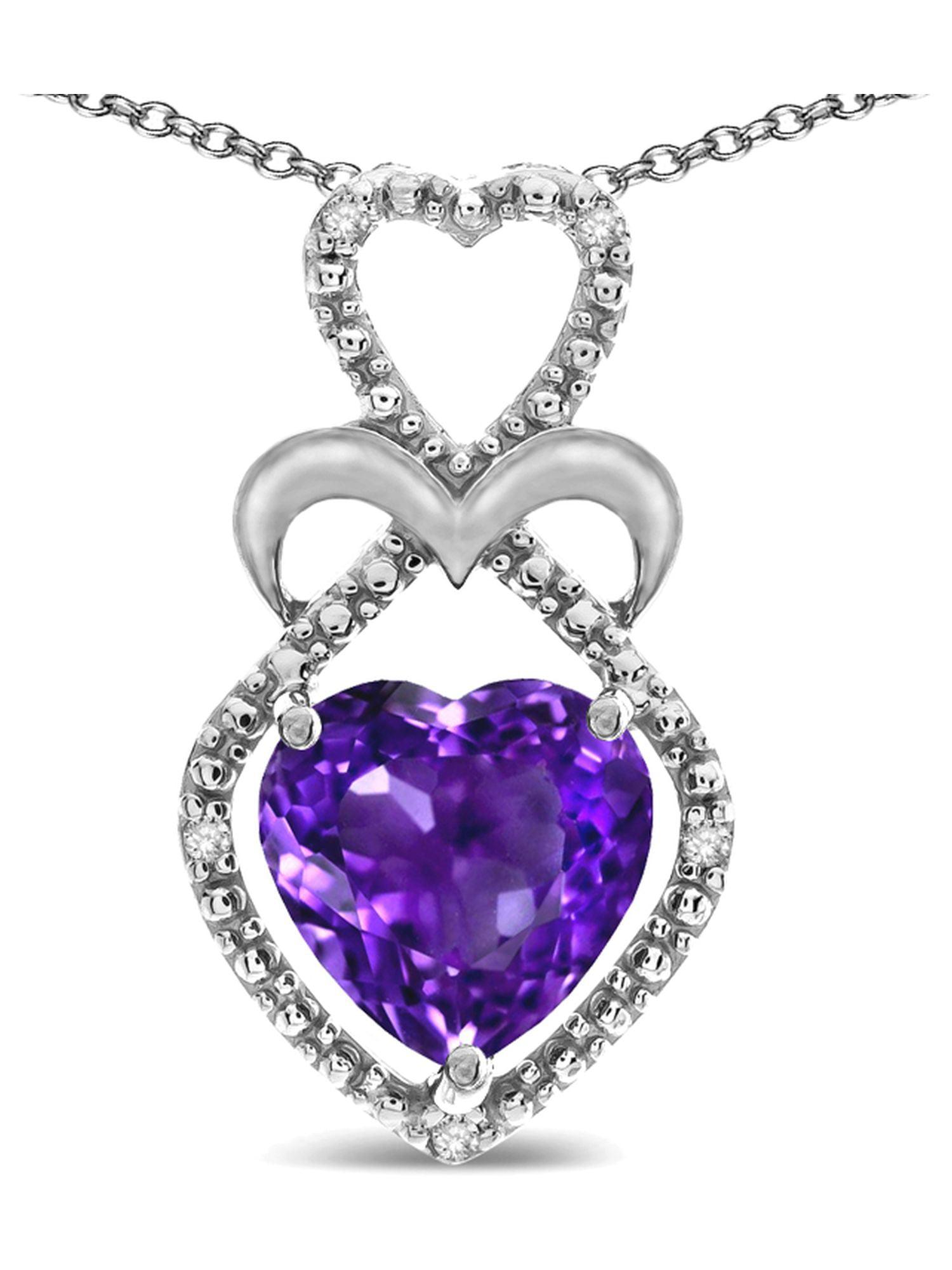 Star K Heart Shape 8mm Amethyst Double Heart Halo Embrace Pendant Necklace by Star K