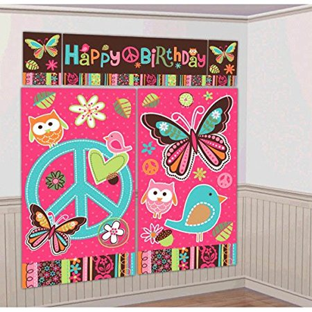 Amscan Hippie Chick Birthday Party Scene Setters Decoration