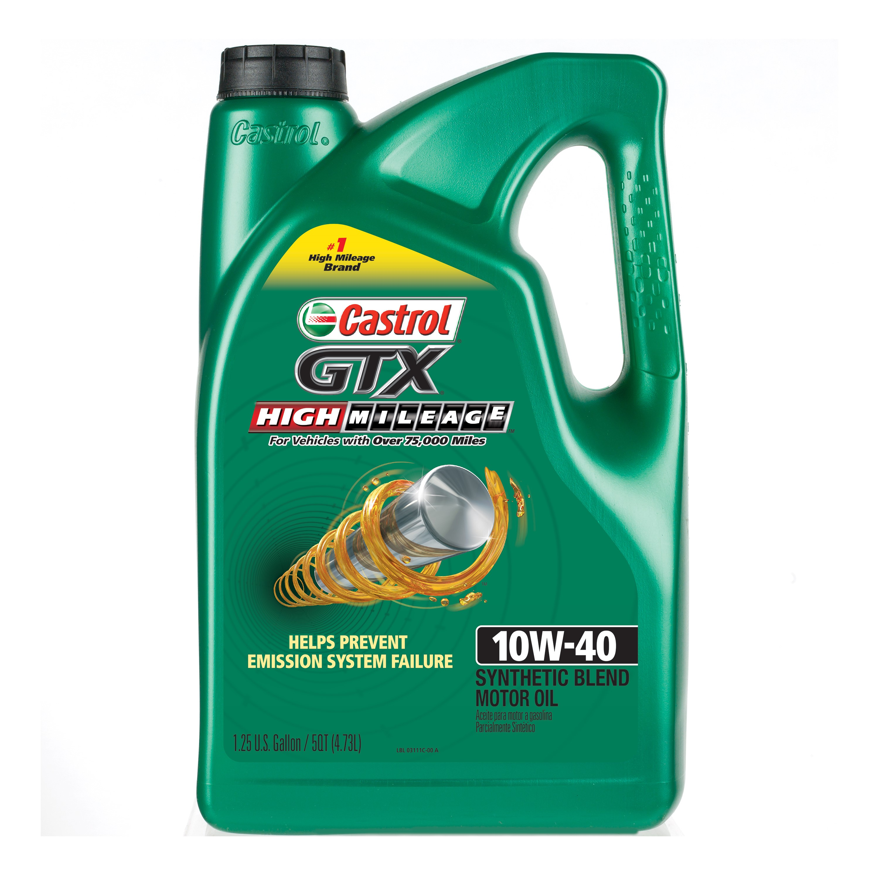 (3 Pack) Castrol GTX High Mileage 10W-40 Synthetic Blend Motor Oil, 5 QT