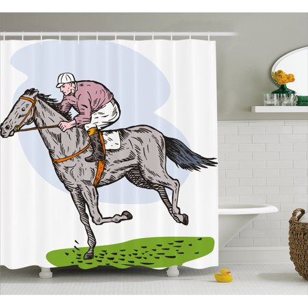 Animal Shower Curtain  Sketchy Horse Racing Theme Jockey Pony Stallion Riding On Field Retro Illustration  Fabric Bathroom Set With Hooks  69W X 70L Inches  Multicolor  By Ambesonne