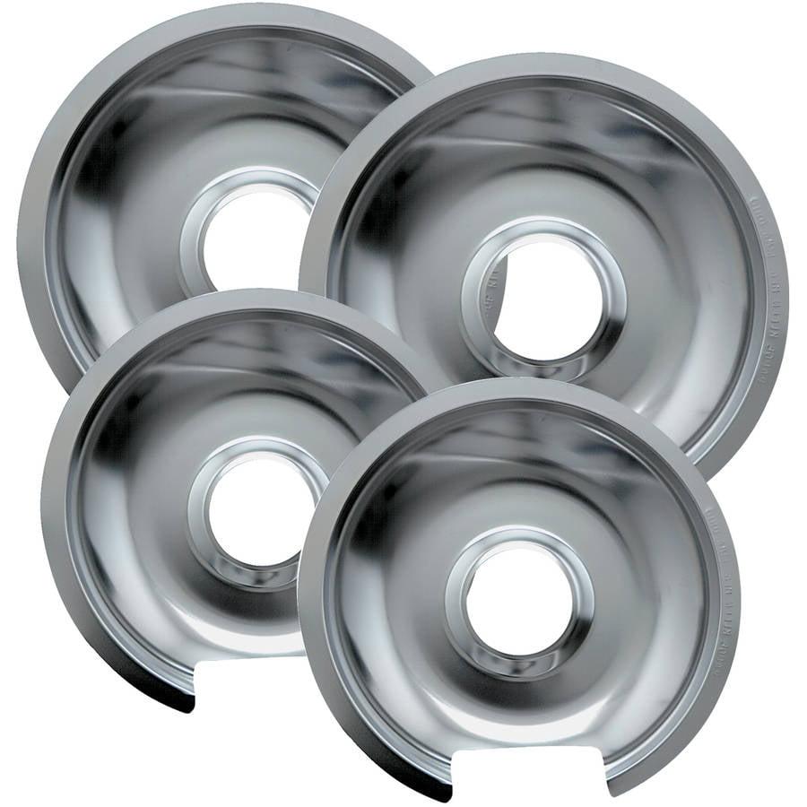 Range Kleen Drip Pans, Style D, Chrome, Two 2-Piece Sets