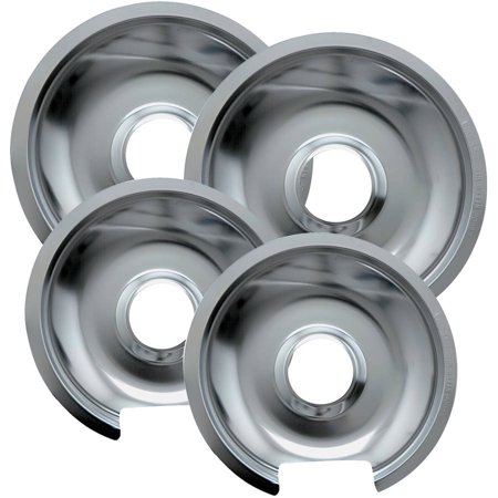 Range Kleen Drip Pans, Style D, Chrome, Two 2-Piece